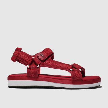 d2dd89bb0dc001 Tommy Hilfiger Red Tj Mesh Webbing Sporty Womens Sandals