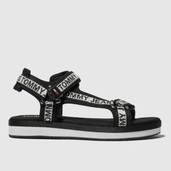 Tommy Hilfiger Black & White Tj Mesh Webbing Sporty Sandal Womens Sandals