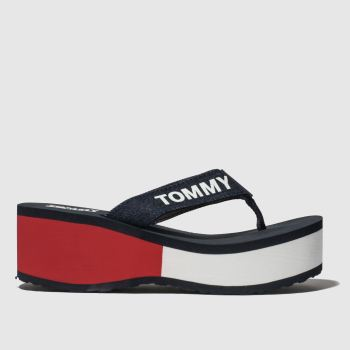 Tommy Hilfiger Navy & White Tj Colorblock Flatform Beach Womens Sandals