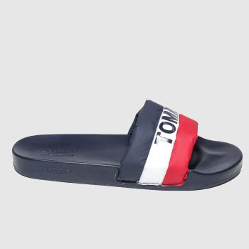 Tommy Hilfiger navy tj padded nylon pool slide sandals