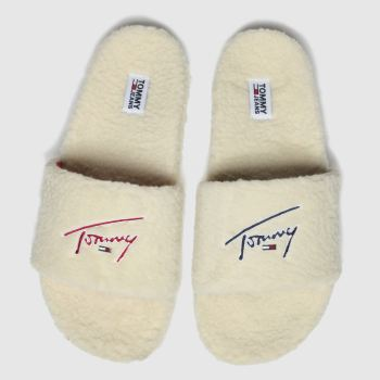 Tommy Hilfiger White Tj Signature Teddy Slide Womens Sandals