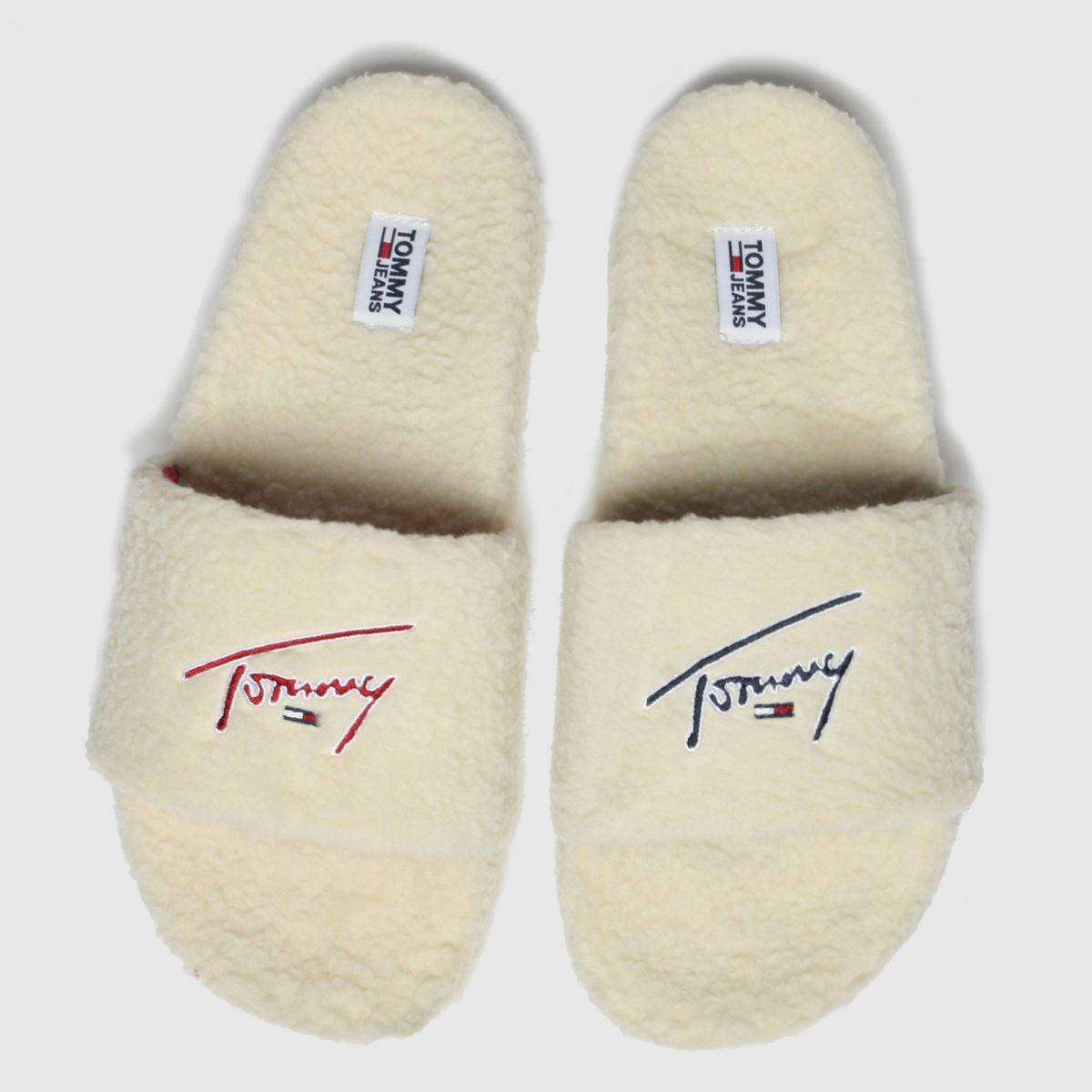 Tommy Hilfiger White Tj Signature Teddy Slide Sandals