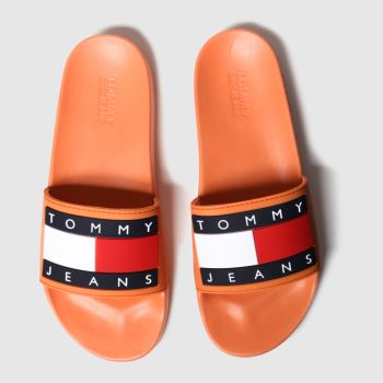 Tommy Hilfiger Orange Flag Pool Slide Womens Sandals#