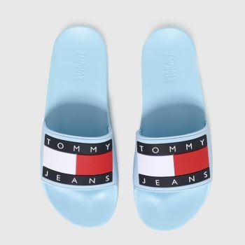 Tommy Hilfiger Pale Blue Flag Pool Slide Womens Sandals