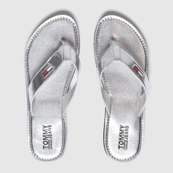 Tommy Hilfiger Silver Metallic Beach Womens Sandals