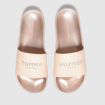 Tommy Hilfiger Pale Pink Glitter Pool Slide Womens Sandals#