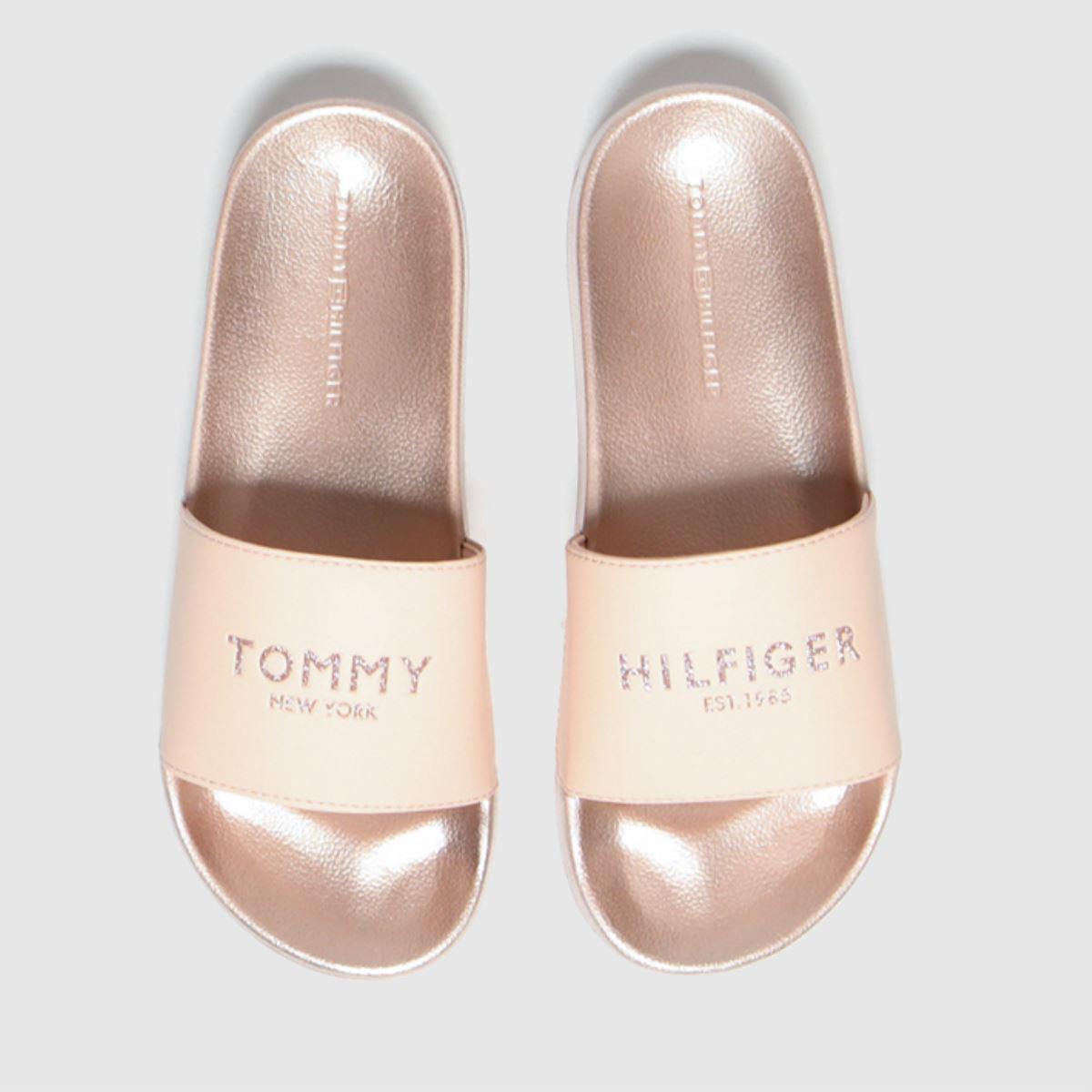 Tommy Hilfiger Pale Pink Glitter Pool Slide Sandals