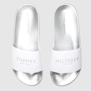 Tommy Hilfiger Silver Glitter Pool Slide Womens Sandals#