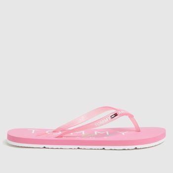 Tommy Hilfiger Pink Rubber Thong Beach Womens Sandals