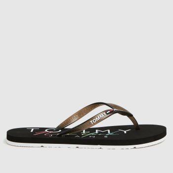 Tommy Hilfiger Black Rubber Thong Beach Womens Sandals