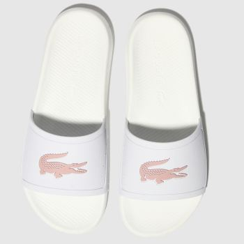 Lacoste White & Pink Croco Slide 119 3 Womens Sandals