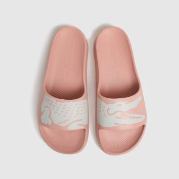 Lacoste Pale Pink Croco Slide 2.0 Womens Sandals