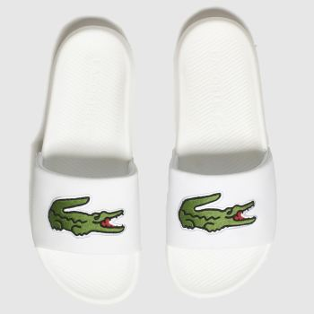 Lacoste White & Green Croco Slide Womens Sandals