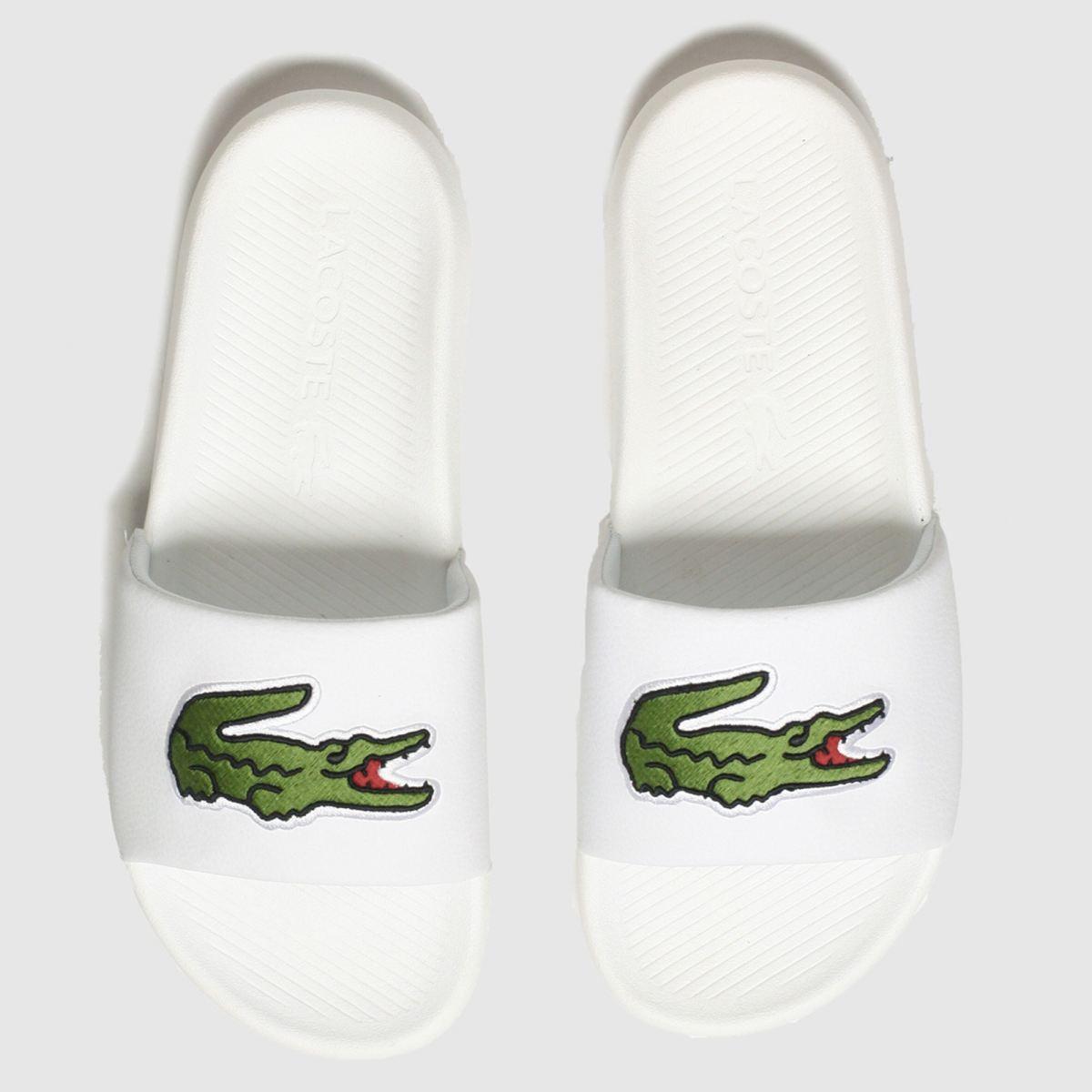 Lacoste White & Green Croco Slide Sandals