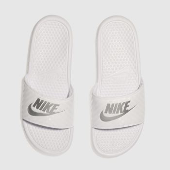 Nike White & Silver Benassi Slide Womens Sandals#