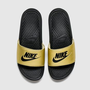 Nike Gold Benassi Slide Womens Sandals