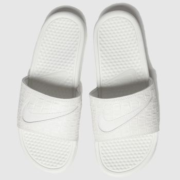 Nike White & grey Benassi Slide c2namevalue::Womens Sandals