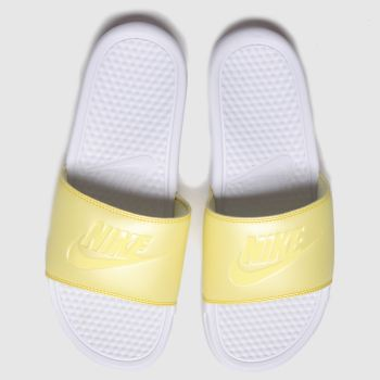Nike White & Yellow Benassi Slide Womens Sandals