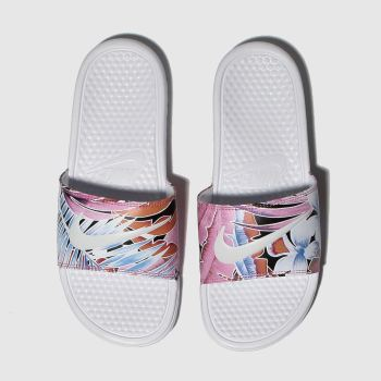 Nike White & Blue Benassi Slide Womens Sandals