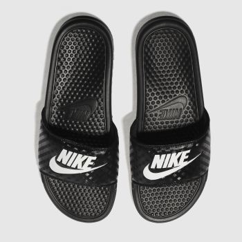Nike Black & White Benassi Slide Womens Sandals#