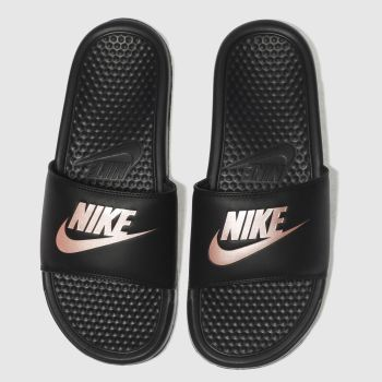 Nike Black & Gold Just Do It c2namevalue::Womens Sandals