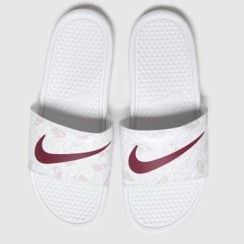 Nike White & Red Benassi Jdi Womens Sandals