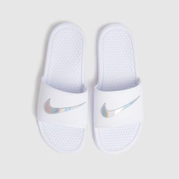 Nike White & Silver Benassi Jdi Womens Sandals
