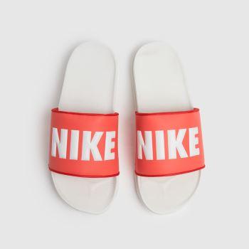 Nike White & Orange Off Court Womens Sandals