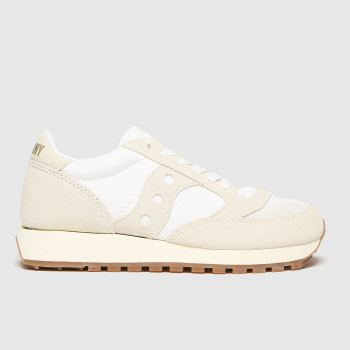 Saucony White & Beige Jazz Vintage Womens Trainers