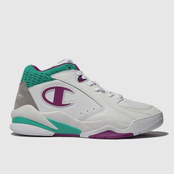 Champion White & Purple Zone Mid Womens Trainers