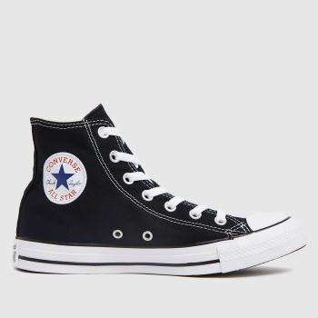 3b2c10f112e627 Converse Black   White All Star Hi Womens Trainers
