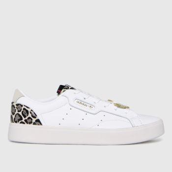 adidas White & Brown Sleek Womens Trainers
