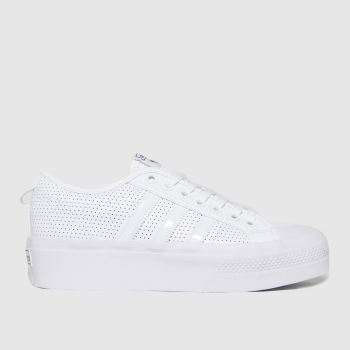 adidas White & Black Nizza Platform Trainers