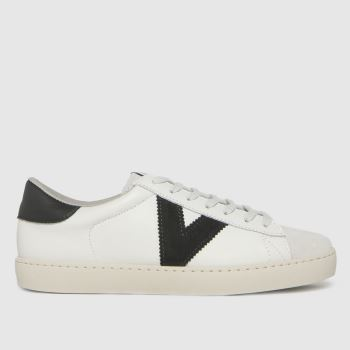 victoria White & Black Berlin Leather Womens Trainers
