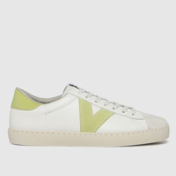 victoria White & Green Berlin Leather Womens Trainers