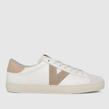 victoria White & Pink Berlin Leather Womens Trainers