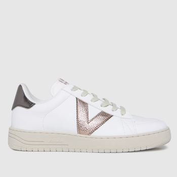 victoria White & Pink Always Vegan Metallic Womens Trainers