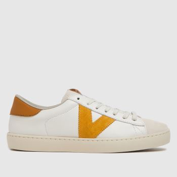 victoria White & Yellow Berlin Leather Womens Trainers
