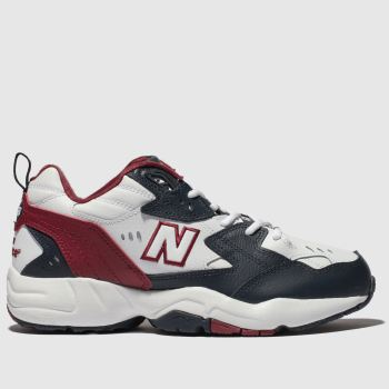 New Balance White & Navy 608 Trainers