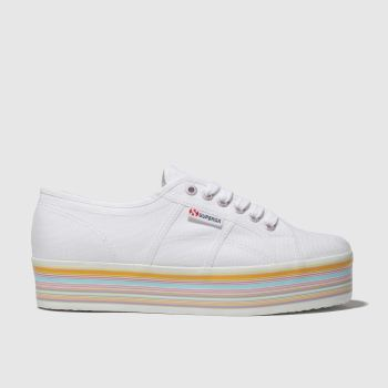 Superga White 2790 Multi Flatform Trainers
