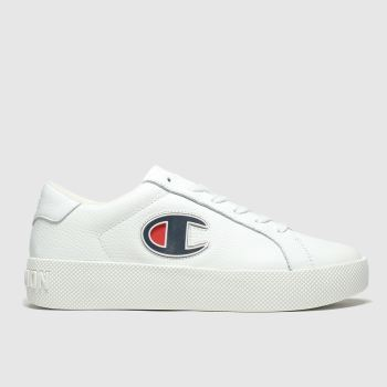 Champion White & Navy Era Leather Womens Trainers
