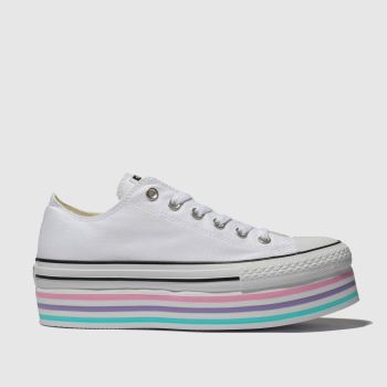 Converse Weiß-Pink All Star Lift Rainbow Damen Sneaker