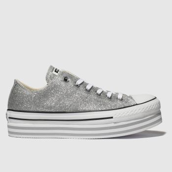 Converse Silver All Star Lift Glitter Womens Trainers