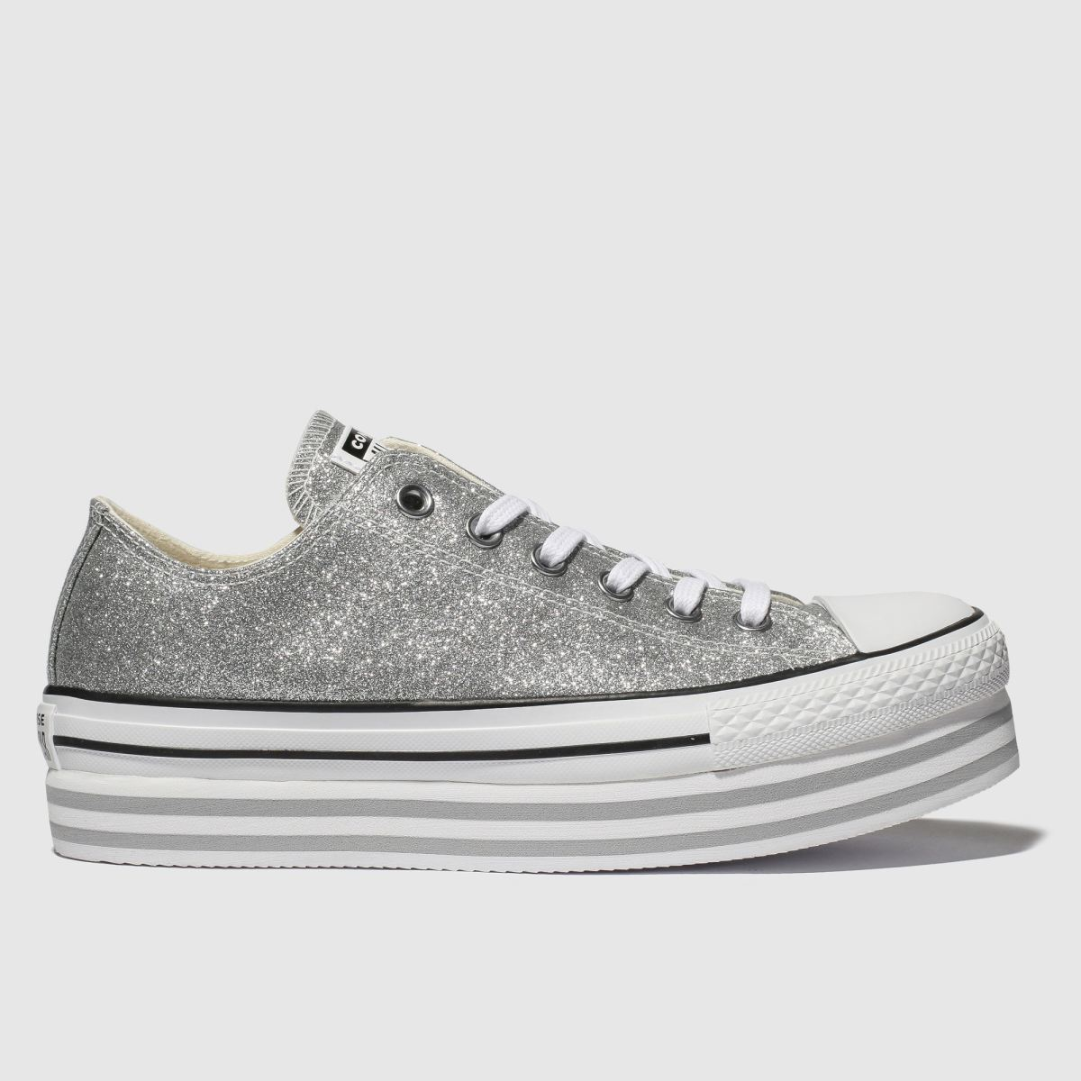 Converse Silver All Star Lift Glitter Trainers