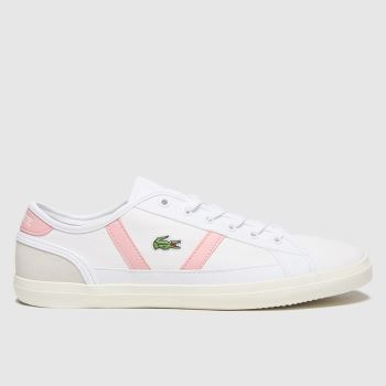 Lacoste White & Pink Sideline Womens Trainers#