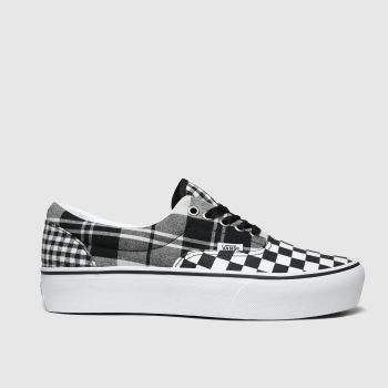 Vans White & Black Era Platform Plaid Trainers