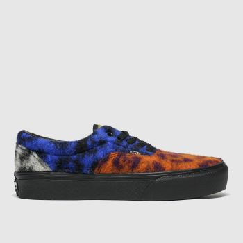 Vans Navy & Orange Era Platform Mixed Leopard Trainers