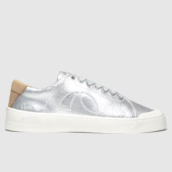 Roscomar Silver Blvd Leather Metallic Womens Trainers#