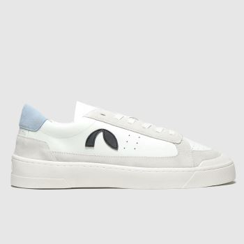 Roscomar White & Pl Blue Deck Leather Womens Trainers#