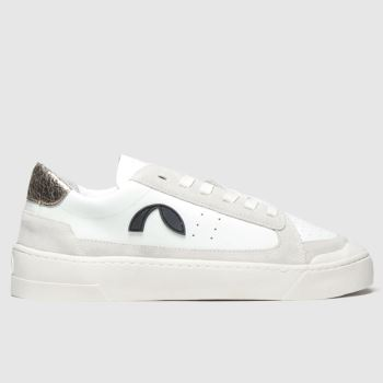 Roscomar White & Silver Deck Leather Womens Trainers